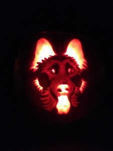 German Shepherd Carved Pumpkin