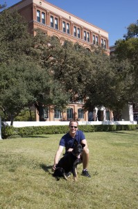 Lizze with her friend Lars in Dealey Plaza